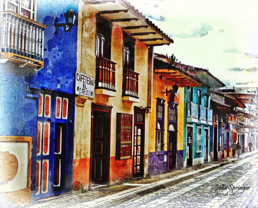 A brightly colored, painterly work showing Calle Lourdes, in Loja, Ecuador