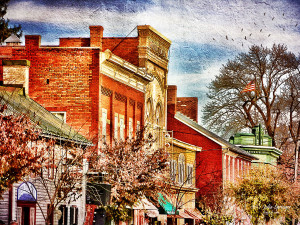 A painterly image of German Street in Shepherdstown by Julia Springer