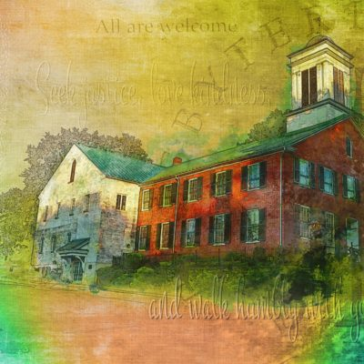 Rainbow colors highlight Shepherdstown Presbyterian church in this convergent media work by Julia Springer